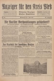Anzeiger für den Kreis Pleß : Nikolaier Anzeiger : Plesser Stadtblatt. Jg.80, Nr. 78 (1 Juli 1931)