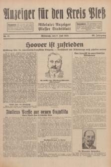 Anzeiger für den Kreis Pleß : Nikolaier Anzeiger : Plesser Stadtblatt. Jg.80, Nr. 81 (8 Juli 1931)