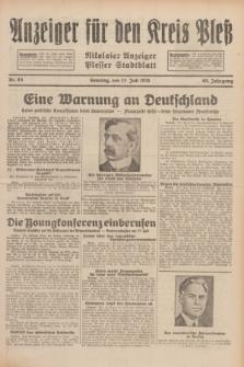 Anzeiger für den Kreis Pleß : Nikolaier Anzeiger : Plesser Stadtblatt. Jg.80, Nr. 83 (12 Juli 1931)