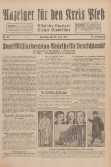 Anzeiger für den Kreis Pleß : Nikolaier Anzeiger : Plesser Stadtblatt. Jg.80, Nr. 86 (19 Juli 1931)
