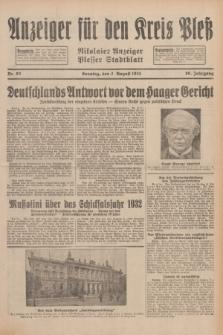 Anzeiger für den Kreis Pleß : Nikolaier Anzeiger : Plesser Stadtblatt. Jg.80, Nr. 92 (2 August 1931)