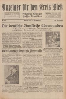 Anzeiger für den Kreis Pleß : Nikolaier Anzeiger : Plesser Stadtblatt. Jg.80, Nr. 94 (7 August 1931)
