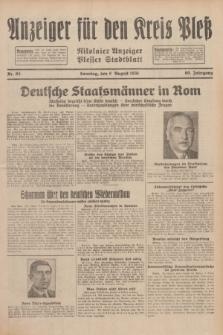 Anzeiger für den Kreis Pleß : Nikolaier Anzeiger : Plesser Stadtblatt. Jg.80, Nr. 95 (9 August 1931)