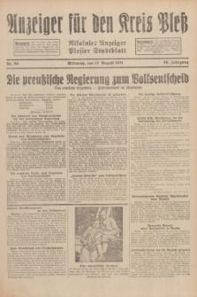 Anzeiger für den Kreis Pleß : Nikolaier Anzeiger : Plesser Stadtblatt. Jg.80, Nr. 96 (12 August 1931)