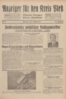 Anzeiger für den Kreis Pleß : Nikolaier Anzeiger : Plesser Stadtblatt. Jg.80, Nr. 97 (14 August 1931)