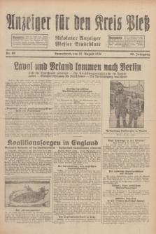 Anzeiger für den Kreis Pleß : Nikolaier Anzeiger : Plesser Stadtblatt. Jg.80, Nr. 98 (15 August 1931)
