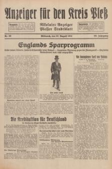 Anzeiger für den Kreis Pleß : Nikolaier Anzeiger : Plesser Stadtblatt. Jg.80, Nr. 99 (19 August 1931)