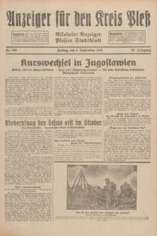 Anzeiger für den Kreis Pleß : Nikolaier Anzeiger : Plesser Stadtblatt. Jg.80, Nr. 106 (4 September 1931)
