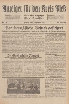 Anzeiger für den Kreis Pleß : Nikolaier Anzeiger : Plesser Stadtblatt. Jg.80, Nr. 109 (11 September 1931)
