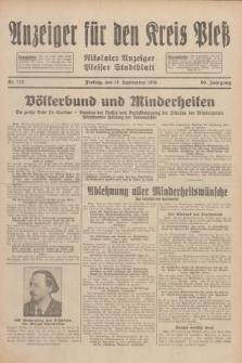 Anzeiger für den Kreis Pleß : Nikolaier Anzeiger : Plesser Stadtblatt. Jg.80, Nr. 112 (18 September 1931)