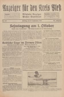 Anzeiger für den Kreis Pleß : Nikolaier Anzeiger : Plesser Stadtblatt. Jg.80, Nr. 115 (25 September 1931)