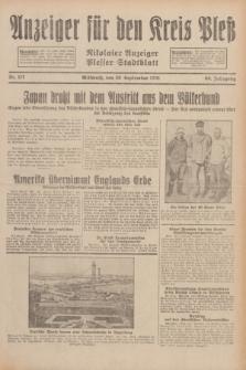 Anzeiger für den Kreis Pleß : Nikolaier Anzeiger : Plesser Stadtblatt. Jg.80, Nr. 117 (30 September 1931)