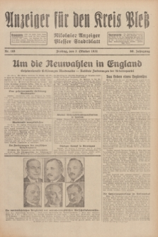 Anzeiger für den Kreis Pleß : Nikolaier Anzeiger : Plesser Stadtblatt. Jg.80, Nr. 118 (2 Oktober 1931)