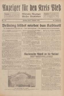 Anzeiger für den Kreis Pleß : Nikolaier Anzeiger : Plesser Stadtblatt. Jg.80, Nr. 121 (9 Oktober 1931)