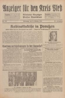 Anzeiger für den Kreis Pleß : Nikolaier Anzeiger : Plesser Stadtblatt. Jg.80, Nr. 123 (14 Oktober 1931)