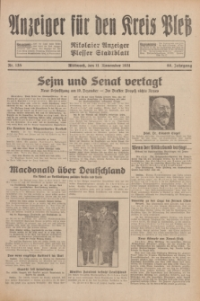 Anzeiger für den Kreis Pleß : Nikolaier Anzeiger : Plesser Stadtblatt. Jg.80, Nr. 135 (11 November 1931)
