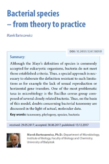 Bacterial species– from theory to practice