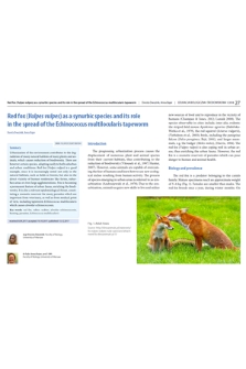 Red fox (Vulpes vulpes) as a synurbic species and its role in the spread of the Echinococcus multilocularis tapeworm