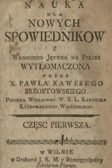 Nauka Dla Nowych Spowiednikow. Cz. 1