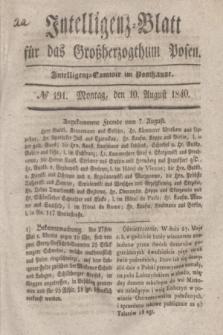 Intelligenz-Blatt für das Großherzogthum Posen. 1840, № 191 (10 August) + dod.