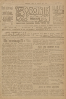 Robotnik : centralny organ P.P.S. R.28, nr 20 (20 stycznia 1922) = nr 1495
