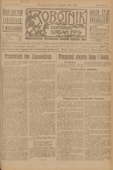 Robotnik : centralny organ P.P.S. R.28, nr 327 (29 listopada 1922) = nr 1799