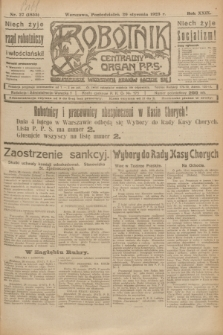 Robotnik : centralny organ P.P.S. R.29, nr 27 (29 stycznia 1923) = nr 1855