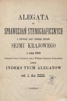 [Kadencja VI, sesja I] Alegata do Sprawozdań Stenograficznych z Pierwszej Sesyi Szóstego Peryodu Sejmu Krajowego Królestwa Galicyi i Lodomeryi wraz z Wielkiem Księstwem Krakowskiem z roku 1889. Indeksy