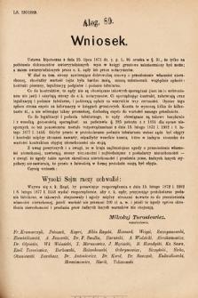 [Kadencja VI, sesja I, al.89] Alegata do Sprawozdań Stenograficznych z Pierwszej Sesyi Szóstego Peryodu Sejmu Krajowego Królestwa Galicyi i Lodomeryi wraz z Wielkiem Księstwem Krakowskiem z roku 1889. Alegat89