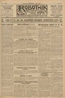 Robotnik : centralny organ P.P.S. R.34, nr 37 (6 lutego 1928) = nr 3234