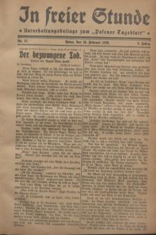 """In Freier Stunde : Unterhaltungsbeilage zum """"Posener Tageblatt"""". Jg.2, Nr. 37 (15 Februar 1928)"""