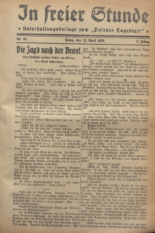 """In Freier Stunde : Unterhaltungsbeilage zum """"Posener Tageblatt"""". Jg.2, Nr. 93 (22 April 1928)"""