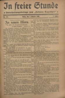 """In Freier Stunde : Unterhaltungsbeilage zum """"Posener Tageblatt"""". Jg.2, Nr. 231 (7 Oktober 1928)"""