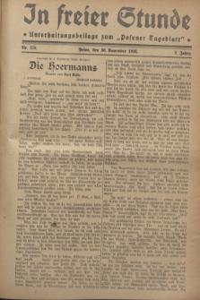 """In Freier Stunde : Unterhaltungsbeilage zum """"Posener Tageblatt"""". Jg.2, Nr. 276 (30 November 1928)"""