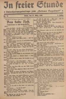 """In Freier Stunde : Unterhaltungsbeilage zum """"Posener Tageblatt"""". Jg.3, Nr. 72 (27 März 1929)"""