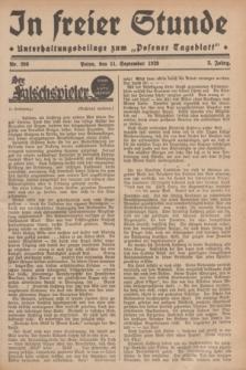 """In Freier Stunde : Unterhaltungsbeilage zum """"Posener Tageblatt"""". Jg.3, Nr. 208 (11 September 1929)"""
