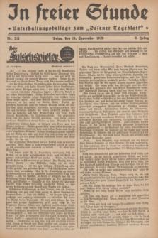 """In Freier Stunde : Unterhaltungsbeilage zum """"Posener Tageblatt"""". Jg.3, Nr. 211 (14 September 1929)"""