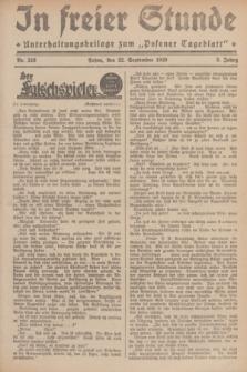 """In Freier Stunde : Unterhaltungsbeilage zum """"Posener Tageblatt"""". Jg.3, Nr. 218 (22 September 1929)"""