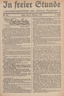 """In Freier Stunde : Unterhaltungsbeilage zum """"Posener Tageblatt"""". Jg.3, Nr. 267 (20 November 1929)"""