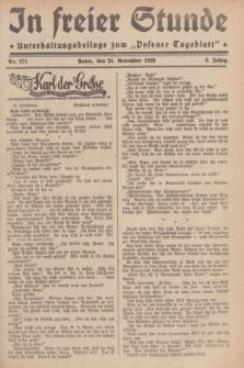 """In Freier Stunde : Unterhaltungsbeilage zum """"Posener Tageblatt"""". Jg.3, Nr. 271 (24 November 1929)"""