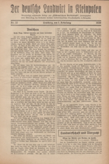 """Der Deutsche Landwirt in Kleinpolen : vierzehntägig erscheinende Beilage zum """"Ostdeutschen Volksblatt"""". 1929, Nr. 22 (3 Nebelung [November])"""