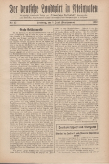 """Der Deutsche Landwirt in Kleinpolen : vierzehntägig erscheinende Beilage zum """"Ostdeutschen Volksblatt"""". 1932, Nr. 12 (5 Brachmond [Juni])"""
