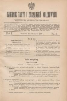 Dziennik Taryf i Zarządzeń Kolejowych : wydawnictwo Ministerstwa Komunikacji. R.2, nr 3 (23 stycznia 1929)