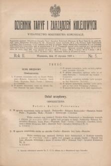 Dziennik Taryf i Zarządzeń Kolejowych : wydawnictwo Ministerstwa Komunikacji. R.2, nr 5 (25 stycznia 1929)