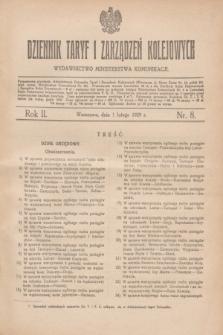 Dziennik Taryf i Zarządzeń Kolejowych : wydawnictwo Ministerstwa Komunikacji. R.2, nr 8 (1 lutego 1929)