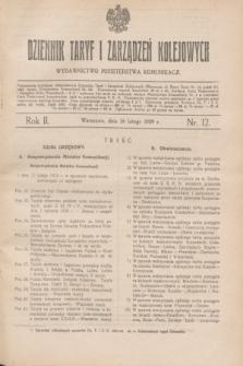 Dziennik Taryf i Zarządzeń Kolejowych : wydawnictwo Ministerstwa Komunikacji. R.2, nr 12 (26 lutego 1929)