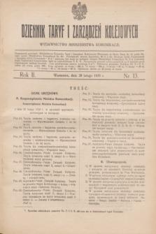 Dziennik Taryf i Zarządzeń Kolejowych : wydawnictwo Ministerstwa Komunikacji. R.2, nr 13 (28 lutego 1929)