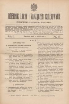 Dziennik Taryf i Zarządzeń Kolejowych : wydawnictwo Ministerstwa Komunikacji. R.2, nr 16 (22 marca 1929)