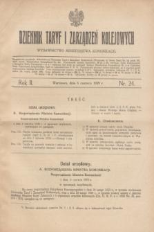 Dziennik Taryf i Zarządzeń Kolejowych : wydawnictwo Ministerstwa Komunikacji. R.2, nr 24 (6 czerwca 1929)