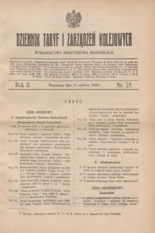 Dziennik Taryf i Zarządzeń Kolejowych : wydawnictwo Ministerstwa Komunikacji. R.2, nr 25 (15 czerwca 1929)
